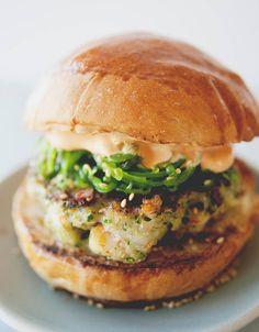 Shrimp Burger with Wakame Slaw
