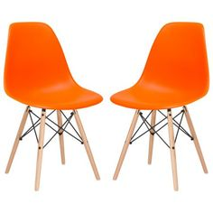 Poly and Bark Vortex Side Chair in Orange (Set of 2)