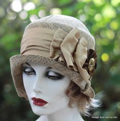 Classic 1920's Downton Abbey Cloche Flapper Hat Gold by GailsHats