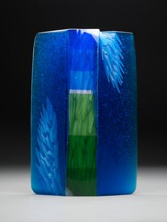 """Alex Bernstein """"Cascade""""  cut #glass #sculpture 18 x 12 x 2 inches  #bigsky #fields #landscape"""