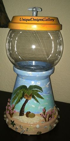 Tropical Beach Shells Palm Tree Candy Jar by UniqueDesignsGallery
