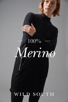 Cut in 100% Merino wool this versatile tunic is the must-have wardrobe staple. Featuring a crew neckline, a flattering curved hem, and shiny silver zipper pockets this is the tunic you'll be reaching for season after season. Available in both black and navy blue. #Dress #NewZealand #Fashion #Merino #WildSouth