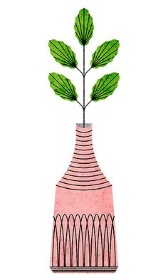 floral illustration pink and green