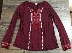 Lucky Brand Shirt Long Sleeve Embroidered Burgundy Maroon Women's Sz S* | eBay