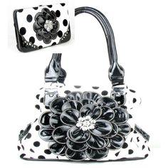 Handbags, Bling & More! Black Polka Dot Twist Clutch Flower Rhinestone Fashion Handbag W Matching Wallet : Flower Purse Sets In Stock: 62.99 FREE SHIPPING