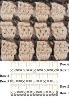 How To :: Block stitch (lots of different names: brick stitch, mosaic stitch, 'Chocolate Box') ~ rows of DC alternating with SC & chain stitch loops. . . . . ღTrish W ~ http://www.pinterest.com/trishw/ . . . #crochet