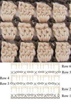 How To :: Block stitch (lots of different names: brick stitch, mosaic stitch, 'Chocolate Box') ~ rows of DC alternating with SC & chain stitch loops. .   . . .  ღTrish W ~ http://www.pinterest.com/trishw/  . . . #crochet