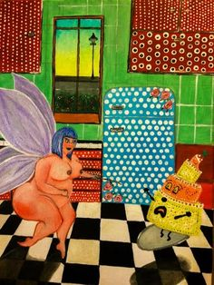 Nude fat fairy lady in the kitchen