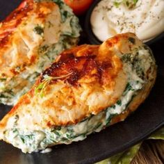 Lemon Garlic Double Cheese Stuffed Chicken, stuffed with cream cheese & old cheddar. This easy chicken breast recipe was a hit with the whole family! Fried Chicken Breast, Pan Fried Chicken, Cheese Stuffed Chicken, Cream Cheese Chicken, Chicken Breasts, Cola Chicken, Healthy Recipes, Cooking Recipes, Healthy Meals