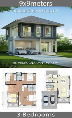 House design plans with 3 bedrooms.House description:Ground Level: Two car parking, Living room, Dining room, Kitchen, reservation Two Storey House Plans, 2 Storey House Design, Small House Design, Modern House Design, Beautiful House Plans, Dream House Plans, House Floor Plans, Small House Plans, Home Building Design