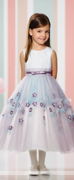 Joan Calabrese for Mon Cheri - Fall 2016 - Style No. 216310 - sleeveless satin and tulle tea-length flower girl dress with organaza flowers - shown in Lavender/Blue/Ivory