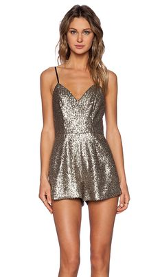 7344a325bbf NBD X NAVEN TWINS PARTY CRASHER SEQUIN ROMPER IN SILVER Brown Jumpsuits