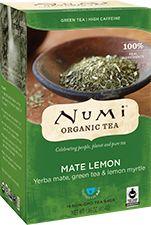 ****Mate Lemon by Numi Tea, 4-5min...Organic yerba mate, organic lemon myrtle, Fair Trade Certified™ organic green tea