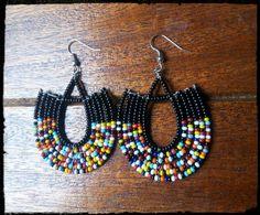 Black beaded Maasai Earrings  African earrings by Sipdada on Etsy