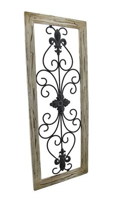 Distressed Wooden Tan Frame Wrought Iron Fleur de Lis Wall Decor 30 X 12 In. -- Details can be found by clicking on the image. (This is an affiliate link and I receive a commission for the sales) Rod Iron Decor, Wrought Iron Wall Decor, Frame Wall Decor, Metal Wall Decor, Metal Wall Art, Wood Wall, Iron Wall Art, Iron Art, Iron Furniture