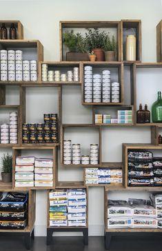 48 retail display ideas 10 retail display shelves, retail store displays, p Retail Display Shelves, Shop Shelving, Shelving Ideas, Pet Store Display, Crate Shelving, Wall Shelving, Display Window, Crate Storage, Wooden Crate Retail Display