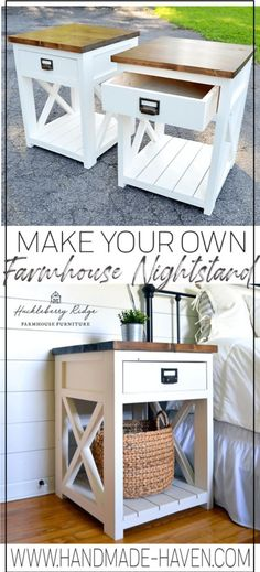 modern farmhouse style Farmhouse nightstand plans that will give your bedroom a Joanna Gaines farmhouse vibe. These free DIY nightstand plans are an easy step-by-step tutorial on how to recreate a farmhouse nightstand for your home. Diy Furniture Plans, Furniture Decor, Rustic Furniture, Antique Furniture, Furniture Design, Farmhouse Style Furniture, Outdoor Furniture, Furniture Websites, Furniture Dolly