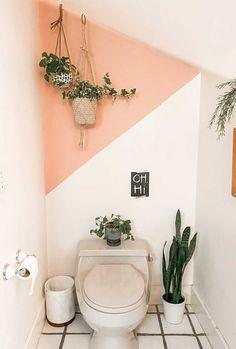 Bathroom Wall Colors, Bathroom Accent Wall, Bathroom Accents, Half Painted Walls, Painted Accent Walls, Accent Wall Colors, Color Accents, Easy Wall, Simple Bathroom