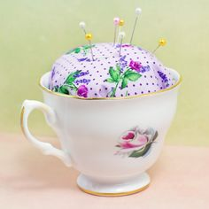 No Sew Teacup Pincushion- 20 Ways to Upcycle Teacups and Create Unique Vintage Decorations