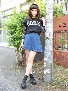 casual skater skirt w/ black outfit