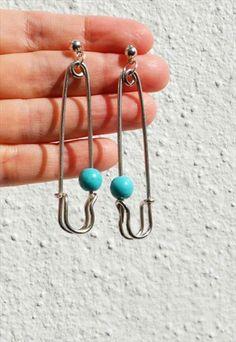 HANDMADE SILVER SAFETY PIN EARRING- Perfect Poppy