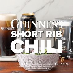 Chili Recipes, Mexican Food Recipes, Soup Recipes, Cooking Recipes, Drink Recipes, Short Ribs Chili Recipe, Guinness Draught, Food Pairing, Deserts