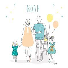 Faire part de naissance fille ou garçon avec illustration à personnaliser - 2 soeurs - Kopines - Art du papier Paris