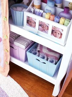 Supplies That Mean Business  Repurpose office storage pieces for kids' room supplies. Here, a tiered desktop caddy holds washcloths, lotions, soaps, and other nursery essentials.