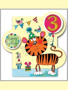 Rachel Ellen card - happy birthday - age 3 tiger