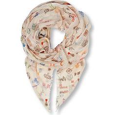 STELLA MCCARTNEY Printed modal and silk-blend scarf (White