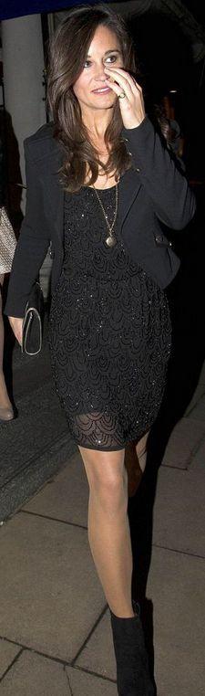 Black on Black on Black - Pippa Middleton in Alice and Olivia Dress.