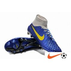 on sale 76873 ef84a Nike Magista Obra FG with ACC Hyper Bleu Light-Gris Jaune Super Chaussure  De Foot