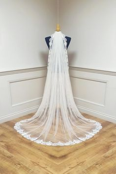 Stunning collection of Bridal Veils made in Ireland, different lengths and trims available.High quality Veiling and finish. Online Sales see website. Cater for different lengths and requirements. All designed and made in Dublin . This one is wide lace edge veil, angel crystals can be added. Veils Bridal cathedral . Available in white and Ivory