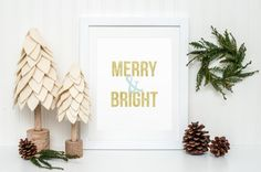 Merry and Bright Christmas Holiday Printable Sign, Gold Glitter Quote Printable Digital Wall Art Template, Instant Download, 8x10