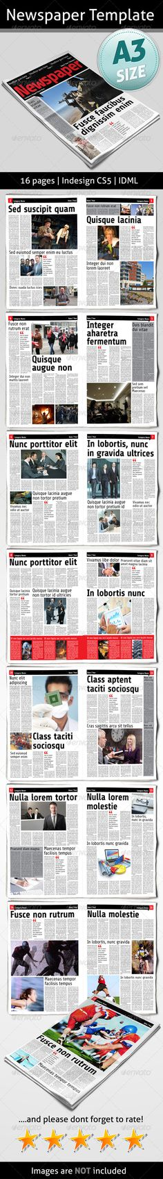 Newspaper Template #GraphicRiver 16 pages A3 11.6929×16.5354 Bleed 5 mm InDesign CS5 Idml CMYK Aller: .fontsquirrel /fonts/Aller share: .fontsquirrel /fonts/Share-Regular Info file included Images are not included If you need any help with your purchase please contact me Created: 15August13 GraphicsFilesIncluded: JPGImage #InDesignINDD Layered: Yes MinimumAdobeCSVersion: CS4 PrintDimensions: 11.6929x16.5354 Tags: 16pages #colorspace #creative #daily #generalinterest #layout #modern…