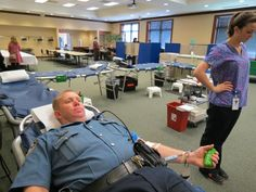 CPD Community Relations Officer John David donates again at the Kalaman blood drive. — at Centerville Police Department.