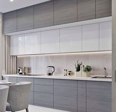 Contemporary style kitchen designs are among the methods to go. You do not require a complicated kitchen so it will be stick out, just some unique designs that can make your kitchen area the envy of the neighbors. Luxury Kitchen Design, Kitchen Room Design, Contemporary Kitchen Design, Kitchen Layout, Home Decor Kitchen, Interior Design Kitchen, Contemporary Style, Kitchen Ideas, Kitchen Modular