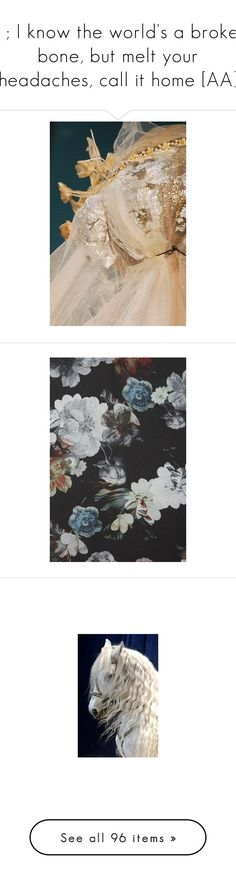 """""""& ; I know the world's a broken bone, but melt your headaches, call it home [AA]"""" by dreams-and-tranquility-xox ❤ liked on Polyvore featuring photos, pictures, backgrounds, flowers, blue, images, animals, horses, models and detail"""