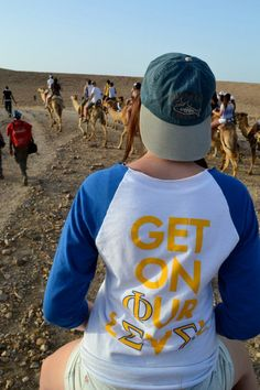 sorority girls around the world ~ representing Phi Sigma Sigma on camel back in the Negev desert, in Israel!  submitted by: curiouslife