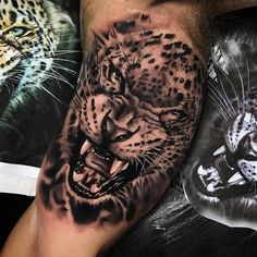 Tatuagem feita por Chico Morbene de São Paulo.    Tigre em realismo preto e cinza no braço.