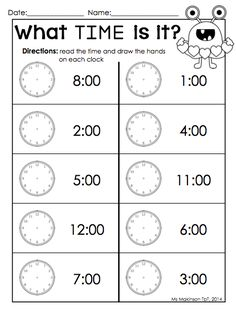 February Printable Packet - Kindergarten Literacy and Math. Telling time by the hour Valentine's Day worksheet. (by: Ms. Makinson)