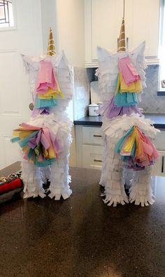 This is a cute baby unicorn piñata with pastel colors for the mane and tail. Unicorn Pinata, Rainbow Unicorn Party, Rainbow Birthday Party, Baby Unicorn, 10th Birthday Parties, Birthday Party Decorations, 5th Birthday, Birthday Ideas, Rainbow Parties