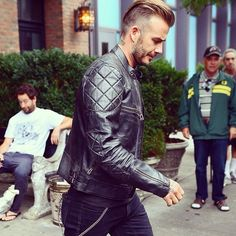 David Beckham is trying to kill us all with this @belstaff leather motorcycle guy vibe. Even the men are like damn son.