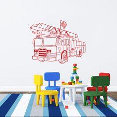 Fire Truck Wall Decal Vinyl Sticker Decals Art Home Decor Design Mural Fire  Truck Rescuers Kids Part 88