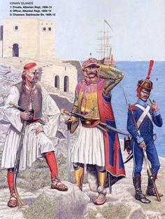 Uniforms used by the External Troops in the Balkans during the Napoleonic period between 1806 - 1814 Military Art, Military History, Ancient Greek Costumes, Les Balkans, Albanian Culture, Holland, Osprey Publishing, Navy Uniforms, Greek History
