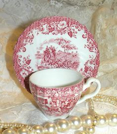 Vintage Cup & Saucer Ironstone Hunting Country Demitasse Red White Vintage Outdoor Scene Coaching Days England Tea Cup Saucer and Tea Cup