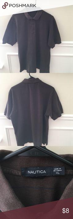 Short-sleeve polo size XL Brown with navy blue stripe, 3-button, 100% cotton, short-sleeve Nautica polo, 100% cotton, smoke-free and pet-free home. Slight pill fuzz throughout. Nautica Shirts Polos
