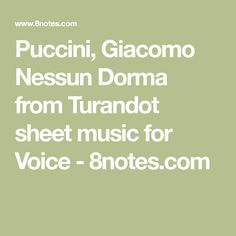Puccini, Giacomo Nessun Dorma from Turandot sheet music for Voice - 8notes.com