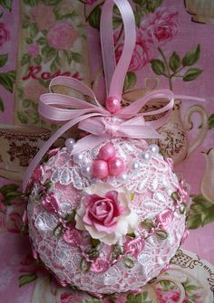 Shabby Sugared Pink Christmas Ornament Venise Lace Pink Roses Pearls