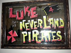 Custom Pirate Mirror Art by #JocelynBereshDesigns  Pirate Party.  Jake and the Neverland Pirates.